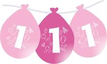 Balonky narozeniny číslo 1, visící 5ks růžové
