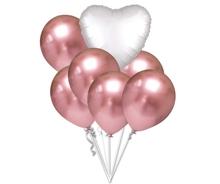 Balónky chromové růžovo-zlaté a bílé srdce set