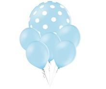 Balónky puntíky set světle modrý