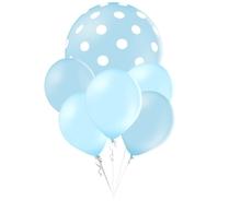 Balónky puntíky set světlemodré balónky mix