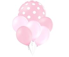 Balónky puntíky set světlerůžový balónky mix