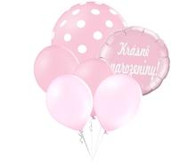 Balónky puntíky set Krásné narozeniny! kruh světle růžový