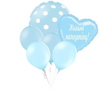 Balónky puntíky set Krásné narozeniny! srdicko