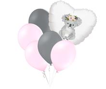 Set balónků a srdce s potiskem koaly