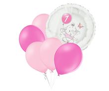 Set 1.narozeniny růžový slon kruh foliový balónek