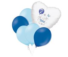 Set 2.narozeniny modrý slon srdce foliový balónek