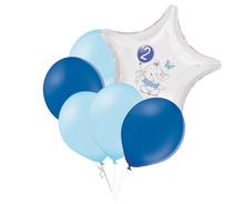 Set 2.narozeniny modrý slon hvězda foliový balónek