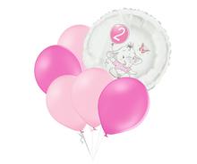 Set 2.narozeniny růžový slon kruh foliový balónek