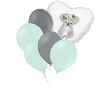 Set zelených balónků a srdce s potiskem koaly
