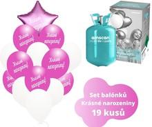 Helium sada - tmavé fuchsia balónky s českým potiskem KRÁSNÉ NAROZENINY