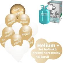 Helium sada - kruh zlatý a  balónky s českým potiskem KRÁSNÉ NAROZENINY