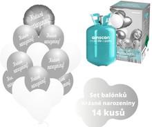 Helium sada - kruh  stříbrný a  balónky s českým potiskem KRÁSNÉ NAROZENINY