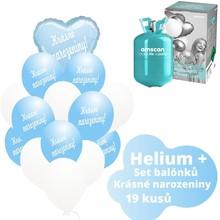 Helium sada - srdce světlemodré a balónky s českým potiskem KRÁSNÉ NAROZENINY