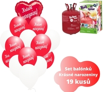 Helium sada - srdce červené a balónky s českým potiskem KRÁSNÉ NAROZENINY