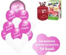 Helium sada - kruh a tmavé fuchsia balónky s českým potiskem KRÁSNÉ NAROZENINY