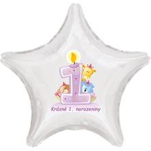 Krásné 1. narozeniny fóliový balónek hvězda pro holky