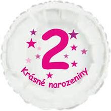 Krásné 2. narozeniny fóliový balónek kruh pro holky
