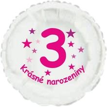 Krásné 3. narozeniny fóliový balónek kruh pro holky