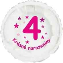 Krásné 4. narozeniny fóliový balónek kruh pro holky