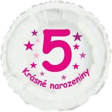 Krásné 5. narozeniny fóliový balónek kruh pro holky