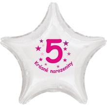 Krásné 5. narozeniny fóliový balónek hvězda pro holky