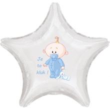 Balónek bílý fóliový hvězda Je to kluk!
