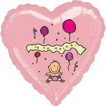 Balónek fóliový světle růžové srdíčko Je to holka!