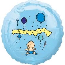 Balónek fóliový světle modrý kruh Je to kluk!