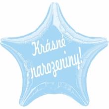 Balónek fóliový světle modrá hvězda Krásné narozeniny!
