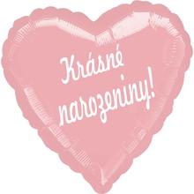 Balónek fóliový světle růžové srdíčko Krásné narozeniny !