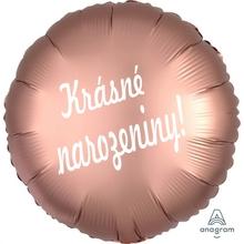 Balónek fóliový růžovo zlatý kruh Krásné narozeniny!