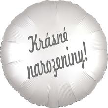 Balónek fóliový bílý saten kruh Krásné narozeniny!