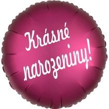 folie bal. kruh tmavě růžový Krasne narozeniny !