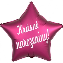 folie bal. hvězda tmavě růžová Krasne narozeniny !