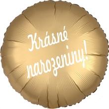 Balónek fóliový kruh zlatý Krásné narozeniny!