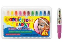 Barvy na obličej trojhranné 12 ks