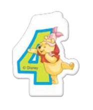 Medvídek Pú dortová svíčka s číslem 4