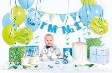 První narozeniny kluk party set modro-zelený 42 ks