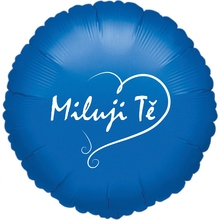 Balónek fóliový modrý kruh Miluji Tě