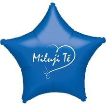 Balónek fóliový modrá hvězda Miluji Tě