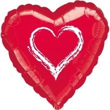 Srdíčko balónek červený fóliový