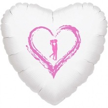 Srdíčko balónek bílý fóliový se srdíčkem a panáčky