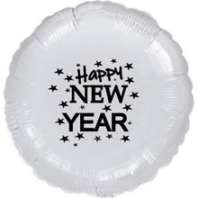 Balónek fóliový Happy NEW YEAR stříbrný kruh